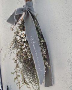 岐阜市花屋 ドライフラワー ドライスワッグ リネンリボン プレゼント ギフト
